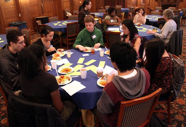 Students+who+participated+in+the+First-Generation+Group+Kickoff+Dinner+get+the+opportunity+to+talk+about+their+experiences%2C+using+the+discussion+cards.+