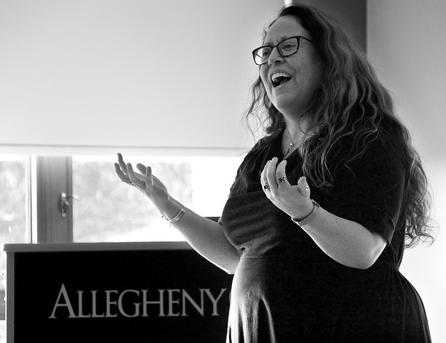 M. Soledad Caballero, associate professor of English, spoke to students, faculty and members of the Meadville community about conceptualizations of masculinity and the dynamics between Britain and South America  in the Campus Center on April 15, 2015.