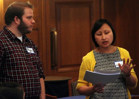 Ryan Pickering, assistant professor of psychology, and Aline Lo, assistant professor of English, speak to students and faculty who attended the first-generation dinner on April 16, 2015.