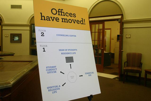 In addition to new signage, the Office of College Relations will have a student in the lobby Reis Hall to direct visitors.