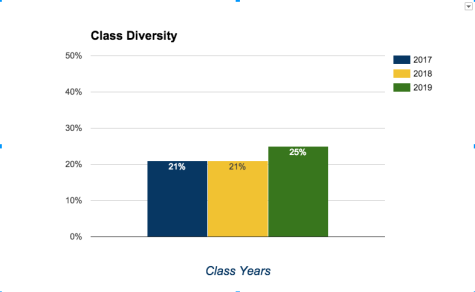 Although the class of 2019 has not reached previous numbers of enrollment, it has increased in diversity, going from 21 percent of freshmen students identifying as a person of color to 25 percent.