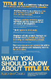 "Title IX was introduced as part of the Education Amendments of 1972 and has since been enforced at colleges across the nation. Title IX aims to protect against sex discrimination in education and states that ""No person in the United States shall, on the basis of sex, be excluded from participation in, be denied the benefits of, or be subjected to discrimination under any education program or activity receiving Federal financial assistance."""