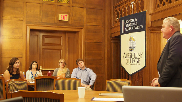 Attorney Michael Piotrowoski gave a presentation to Allegheny students for the CPP's Constitution Day event in Tippie Alumni Center. The presentation addressed the Constitutional limits of police deadly use of force, a subject which Piotrowski has experience speaking about all across Ohio.