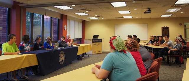 Senators are elected for each class at the start of every academic school year and are sworn in by the Allegheny Student Government cabinet at a general meeting. This year, Tuesday, Sept. 22, 2015 was the inaugural meeting for the class of 2019's new senators.
