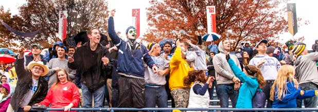 Students cheer on the Gator's football team at last year's Homecoming game which marked Allegheny's bicentennial.  Allegheny lost 37-9 to Oberlin College on Oct. 18, 2014.
