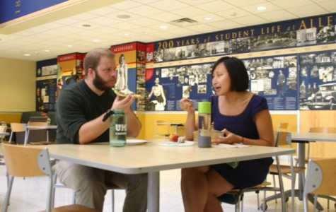 Assistant Professor of English Aline Lo and Assistant Professor of Psychology Ryan Pickering  have lunch outside of McKinley's Food Court on Tuesday, Sept. 15, 2015 from 12-1 p.m. inviting students to join them.