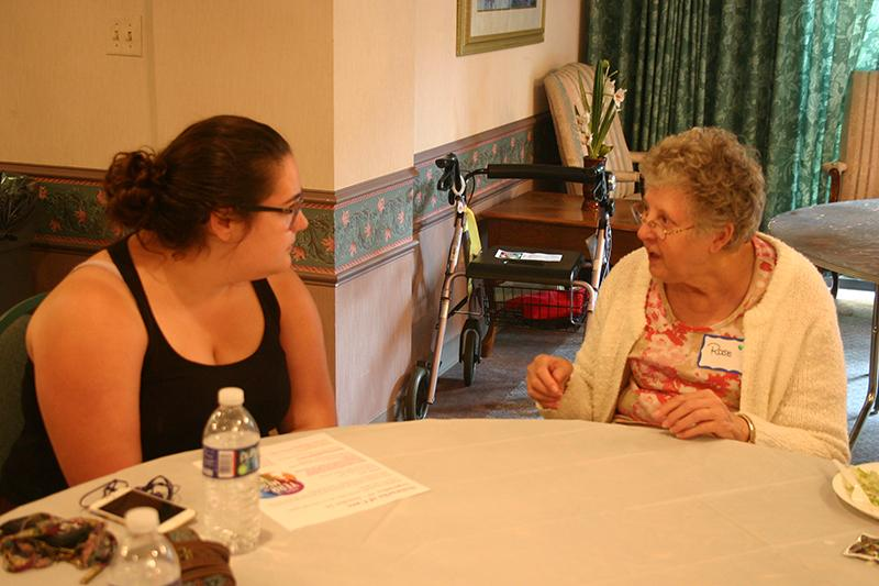 Sydney Fernandez, '17, is one of the students who participated in the Year of Meadville storytelling workshops and connected with Rosalyn MacGuire, a resident at the retirement home.