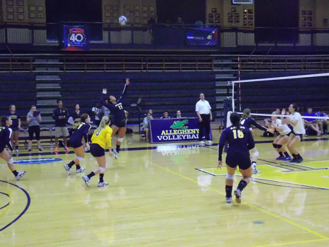 Taylor Samuel, '16, jumps to hit the ball during the women's volleyball game on Tuesday, Sept. 1.