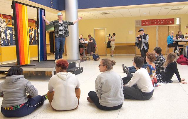 In the campus center lobby on Friday, Oct. 16, 2015, Queers and Allies hosted an event where people could come out by walking out through a set of rainbow doors.