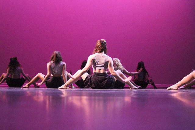"Carissa Lange, '18, leads dancers in a piece she choreographed to the song ""Crazy in Love"" at dress rehearsal on Tuesday, Nov. 3, 2015."