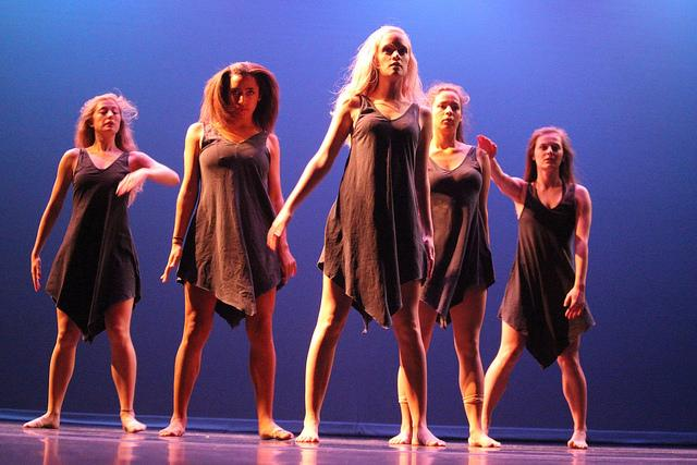 """Five student dancers perform Abby Walters', '17, modern interpretive dance to Hosier's """"Work Song"""" on Tuesday, Nov. 3, 2015."""