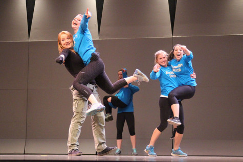 The women's soccer team show their love for one another in their dance routine.