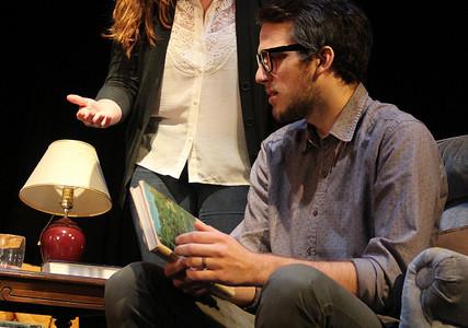 "Christine McGrath, '17, and Matt Lis, '18, rehearse a scene for ""August: Osage County"" on Monday, Nov. 9, 2015."