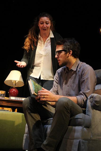 "Christine McGrath, '17, and Matt Lis, '18, rehearse a scene for ""August: Osage County"" on Monday, Nov. 9, 2015."