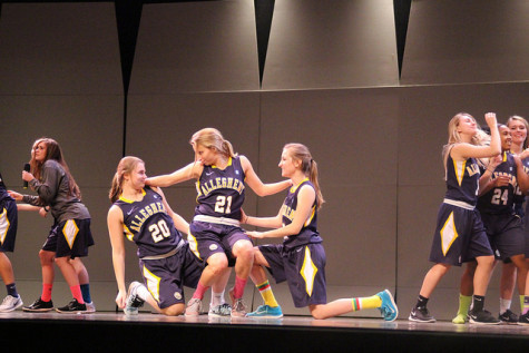 "The winners of the talent show, the women's basketball team, perform their routine.  Emma Pellicano, '16, Rachel Vigliotti, '16, and Jess Mrdjenovich, '16, dance to ""Pitch Perfect"" on Wednesday, Nov. 11, 2015."
