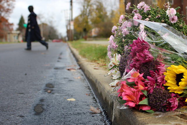 Flowers began accumulating on the side of the road on Oct. 30, 2015 the morning after Hannah Morris, '17, was struck by a vehicle on North Main Street. Morris later died at Meadville Medical Center.