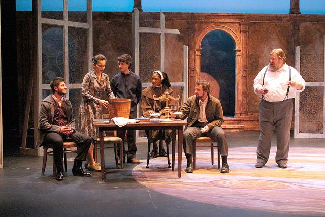 """The cast of """"A Life of Galileo"""" prepares for opening night of the production on Wednesday, Nov. 18, 2015."""