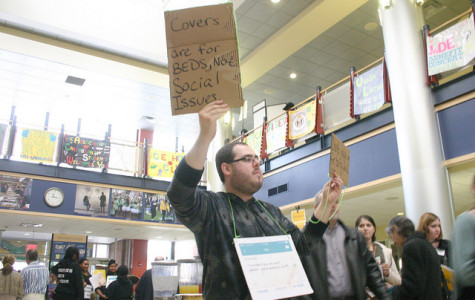 Protesters demonstrate at admissions event