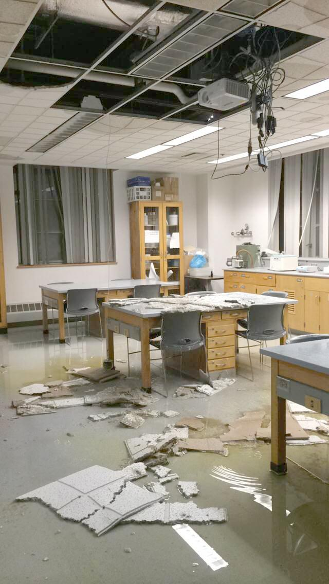 Steffee Hall of Life Sciences suffered severe water damage on Nov. 22, 2015 after a safety shower was pulled and left running.