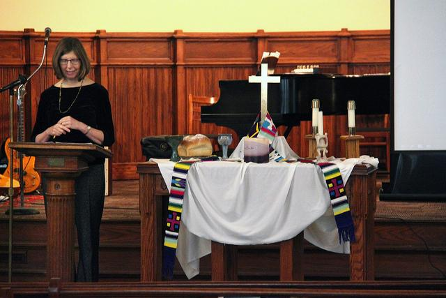 College chaplain Jane Ellen Nickell gives a sermon relating to the teachings of Martin Luther King Jr. in Ford Chapel when Reverend Irene Monroe was not able to come due to in-climate weather on Jan. 24, 2016. The sermon was part of a week-long observance dedicated to the life and activism of King.