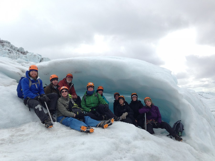 PHOTO CONTRIBUTED BY TIFFANY CIPOLLONE Allegheny faculty, staff and administrators pose for a group photo on the Falljokull glacier during the Iceland study tour in May 2015.