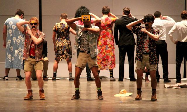 Delta Tau Delta performs the macarena during their performance for SAMs in Shafer Auditorium on Thursday March 10, 2016.  DTD and Delta Delta Delta won the event.