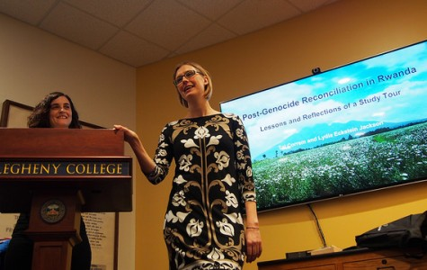 Lydia Eckstein Jackson speaks to a room full of students, faculty and staff on Gator Day, April 5, 2016, about her recent study tour—accompanied by Tal Correm—to Rwanda where the two witnessed firsthand the post-genocide reconciliation.