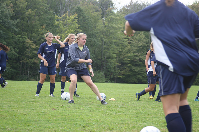 Interim Head Coach Pam Monnier participates in a drill during the women's soccer practice on Wednesday, Aug. 31, 2016 at Robertson Athletic Complex. Monnier took on the position of head coach in August 2016. The women will open the season on Friday, Sept. 2, 2016 at Nazareth College in Rochester, New York.