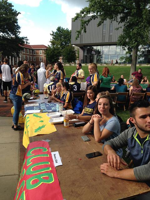 Students wait at their tables for the crowds to arrive at the involvement fair on Thursday, Sept. 1, 2016.