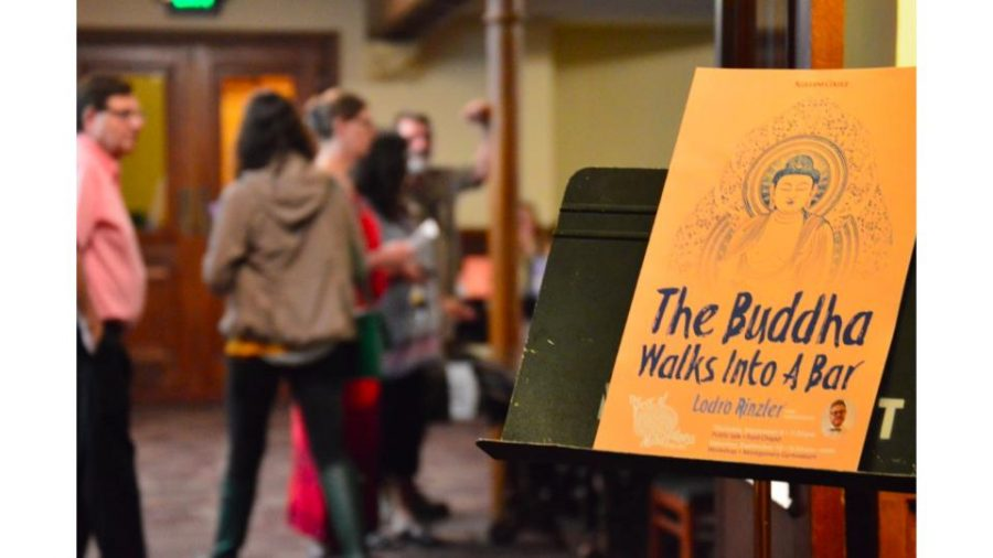 """""""The Buddha Walks into a Bar: Meditation and Saving the World"""" was the second event in Allegheny's Year of Mindfulness."""