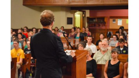 Allegheny and Meadville community members gather in Ford Chapel on Thursday, Sept. 8, to hear guest speaker Lodro Rinzler, a Shambhala Buddhist teacher.