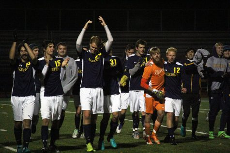 The men's soccer team celebrates a win against the College of Wooster on Tuesday, Oct. 25, 2016. The Gators beat the Scots 4-0 in the last home match of the 2016 season. During pregame warm ups on Tuesday, the team recognized their departing 12 seniors.
