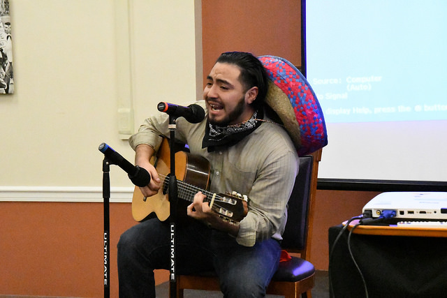Giancarlo+Aguilar%2C+%E2%80%9920%2C+serenaded+the+banquet+hall+with+Mexican+songs+on+a+classical+guitar.