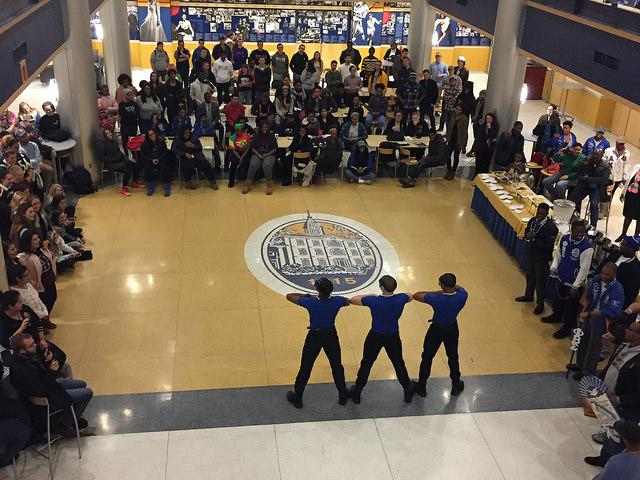 Three members of Phi Beta Sigma, Inc., a historically black fraternity, are inducted into the fraternity in the campus center lobby on Sunday, Dec. 4, 2016, bringing the fraternity back to Allegheny for the first time since the 1990s.