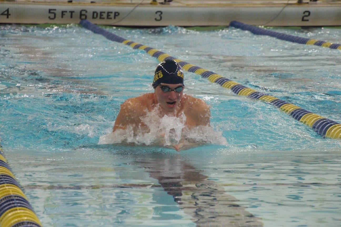 Danny Litwin, '17, competed in the men's 200 breaststroke at the meet against The College of Wooster on Saturday, Jan. 21, 2017. Litwin placed second with a time of 2:16.92.