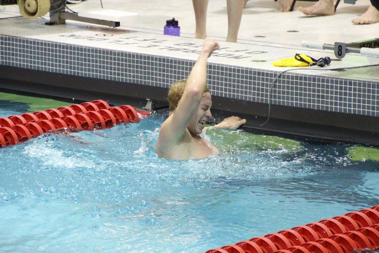 Matt Nardozzi, '19, celebrates finishing the mile and breaking the Allegheny record with a time of 16:03.82. Nardozzi also broke records in the 400 IM and the 1,000 free.