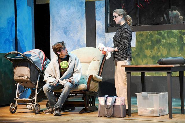 """During the dress rehearsal on Tuesday, Feb. 21, 2017,  Simon Brown, '19, and Mary Lyon, '17, perform a scene in """"Luna Gale."""" The play was written by playwright Rebecca Gilman and directed by Mark Cosdon, associate professor of communication arts and theatre, and tells the story of a social worker trying to help decide whether a child's primary caregiver should be her drug-addicted teenage parents or her grandmother. The dilemma poses contemporary social issues involving family secrets, faith and beliefs, sexual abuse and the social welfare system."""