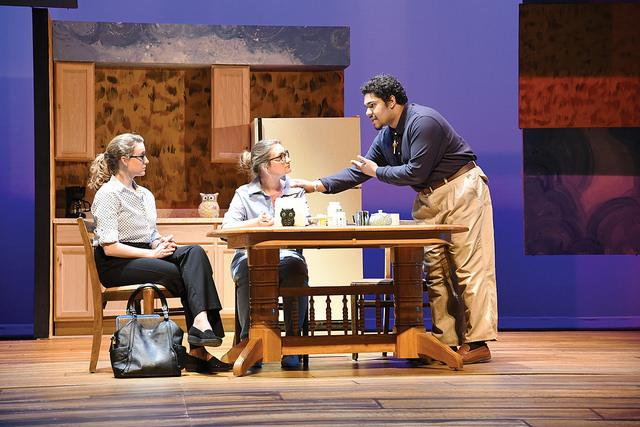 """Mary Lyon, '17, Ada Zech, '19, and Eddie Glass, '18, rehearse for """"Luna Gale"""" on Tuesday, Feb. 21. The Alleghe- ny College Playshop Theatre will present """"Luna Gale"""" from Thursday, Feb. 23, to Sunday, Feb. 26, in the Gladys Mullenix Black Theatre in the Vukovich Center for Communication Arts. The play was written by Rebecca Gilman and directed by Mark Cosdon, associate professor of communication arts and theater, and tells the story of a social worker deciding a child's primary caregiver."""