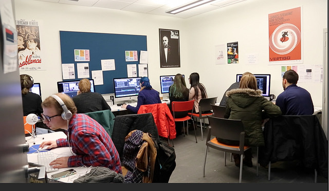 Some of the teams for 48 Hour Film Festival were up all night editing together their films before the final screenings on Sunday, Feb. 5, 2017.