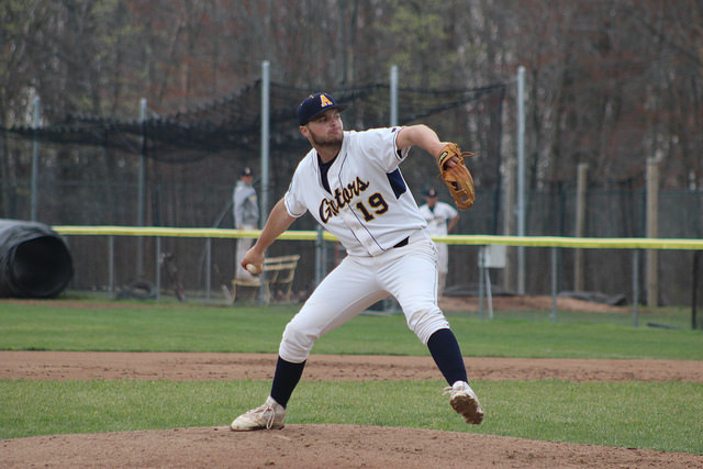 Joe Nagel, '19, pitches during the game against Thiel College on Wednesday, April 19, 2017. The Gators won 16–3 against the Tomcats.