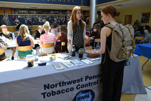 Paula Di Gregory, tobacco programs coordinator, introduces tobacco control methods to Anne Di Gregory, '19, in the campus center lobby on Tuesday, April 18, 2017, as part of Sexual Assault Awareness Month.