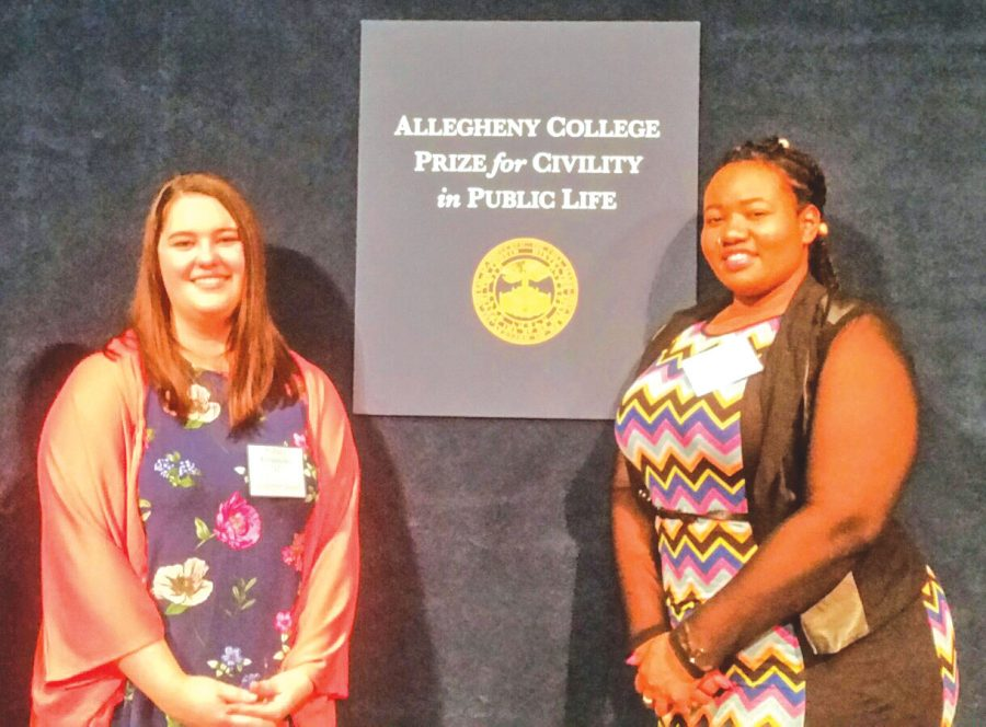 Sydney Fernandez, '17, and Yemi Olaiya, '17, were chosen as the 2017 student recipients of Allegheny's Prize for Civility in Public Life Award on Monday April 10, 2017 in Washington D.C.