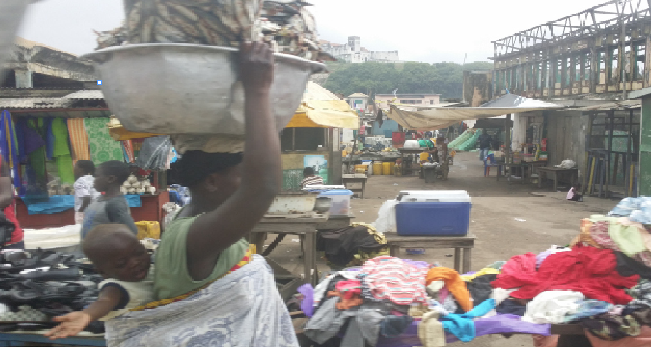 Professor of English and Black Studies Valerie Prince traveled to West Africa during the summer of 2016. This photograph is one that Prince shared during her lecture. It shows a marketplace, a space in which women called to one another and Oriki practice could be observed.