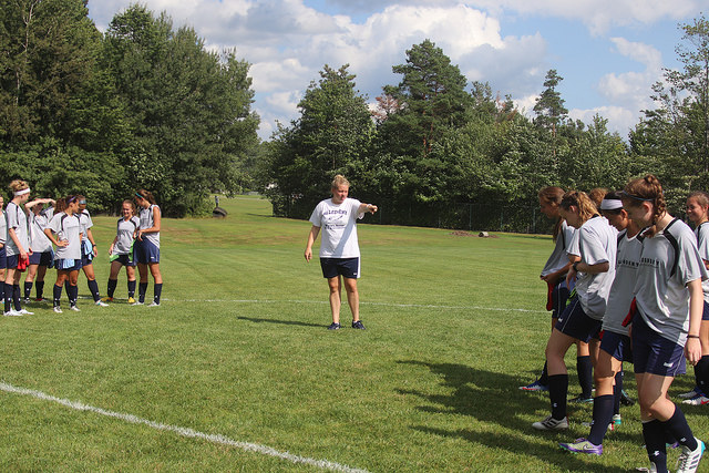 Allegheny College's Head Women's Soccer Coach Pam Monnier splits the team up by first year students and upper classmen for a warm up game on Wednesday, Aug. 23, 2017.