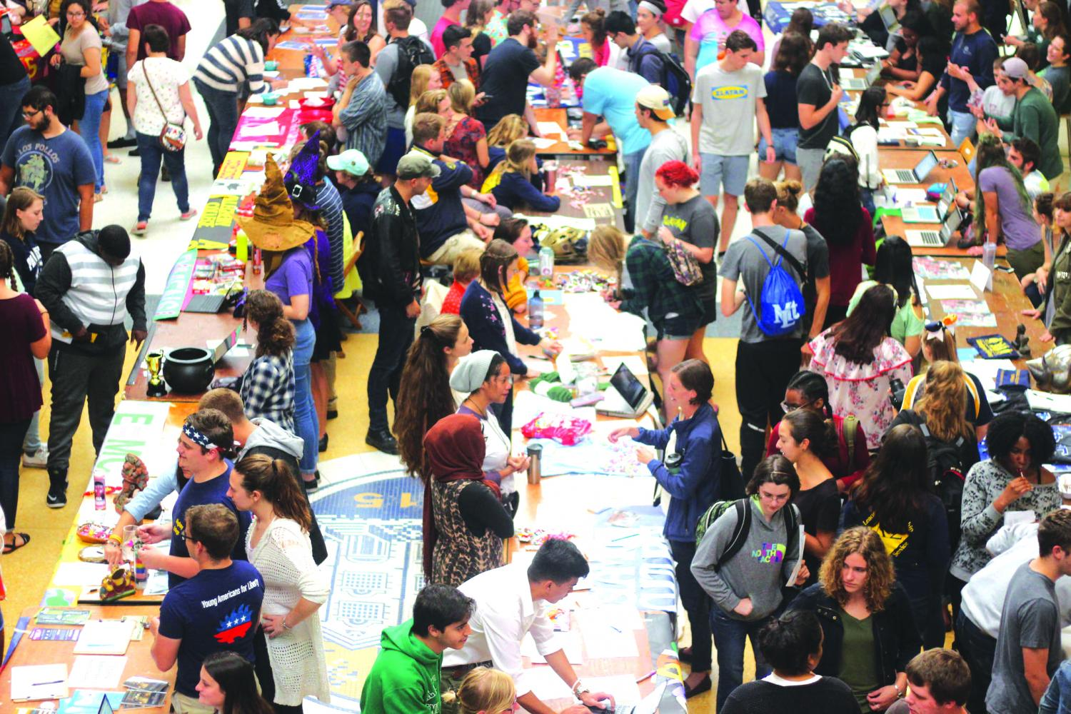 Allegheny students wander the campus center participating in the Student Involvement Fair. The event showcases the clubs and organizations on campus on Thursday, Aug. 31, 2017.