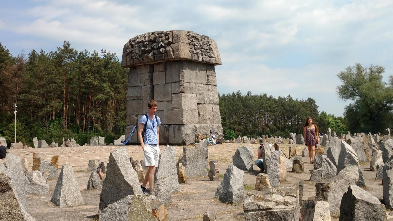Mark Abrams, '18 and Danielle Higbee, '18 walk at the Treblinka memorial, near the village of Treblinka, Poland.
