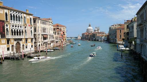 The dome of the Santa Maria della Salute is visible from the Accademia Bridge in  Venice, Italy.