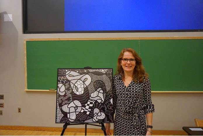 Kenyon College Professor Judy Holdener presents her most recently finished piece on Sept. 7, 2017 in Quigley Auditorium.