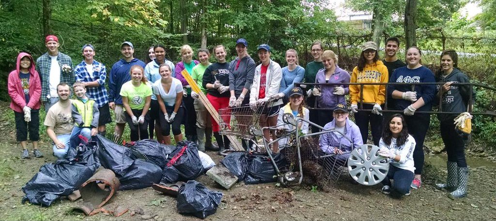 Members of TriBeta Honor Society clean Cemetery Run in Greendale Cemetery for the 2015 French Creek Cleanup on September 12, 2015.