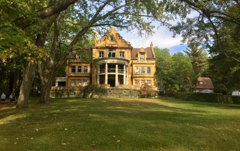 The front view of Holland Hall, previously the Phi Delt Mansion. The tour was organized by the history department and the Meadville Historical Society on Sept. 22, 2017.